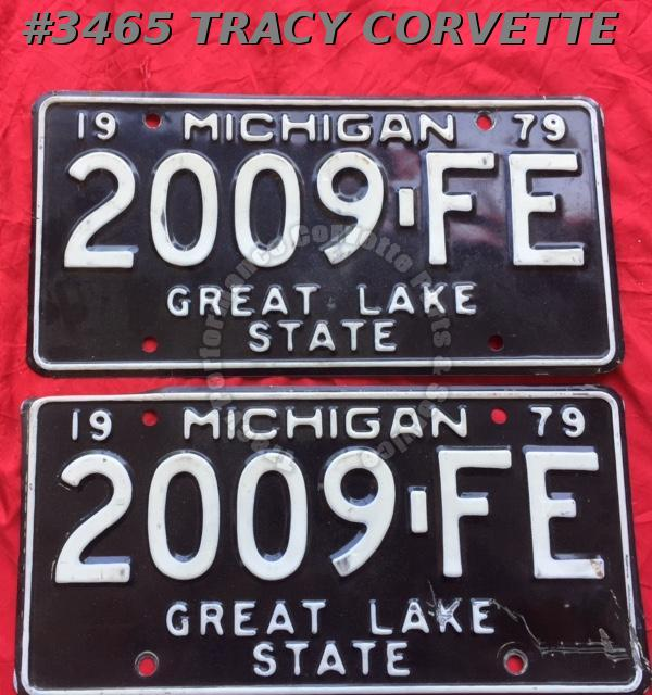 "1979 79 Michigan Used Original Vintage Metal License Plates Pr 2009-FE 12"" x 6"""