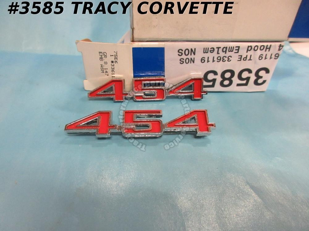 1973 1974 Corvette New 2nds 336119 454 Hood Emblems/Pair Gr 8.147 Red & Chrome