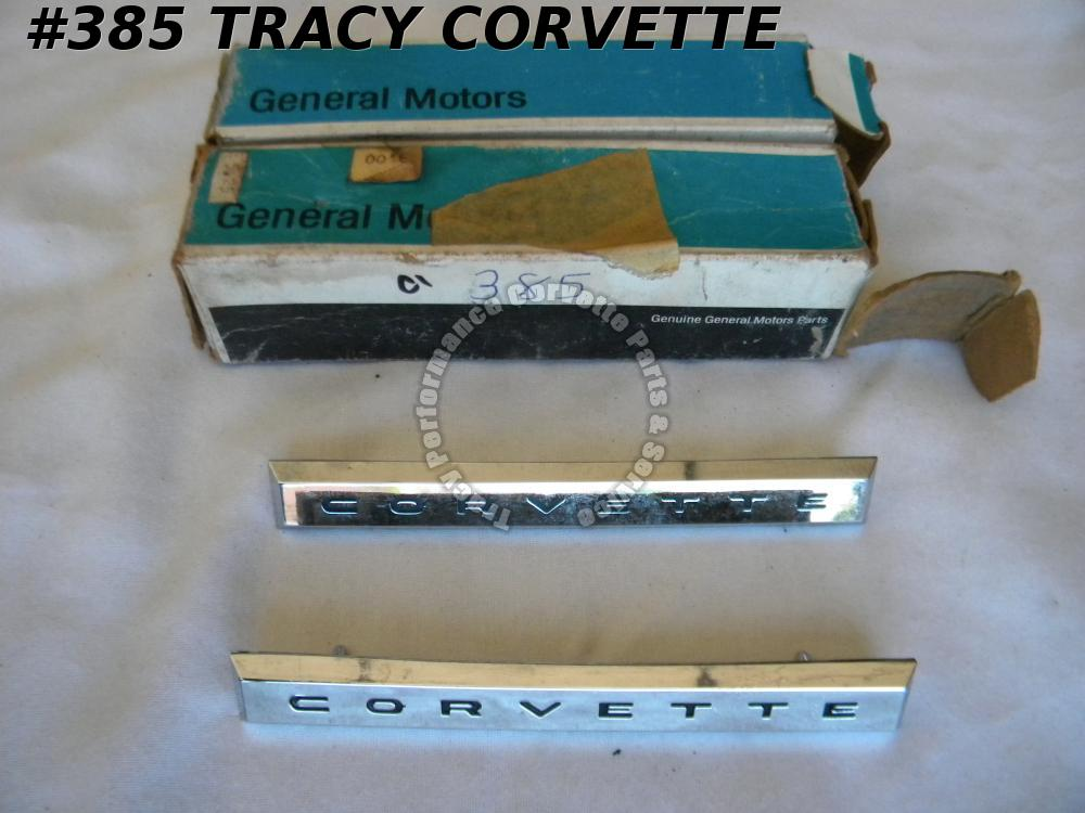 "1961 Corvette Only NOS 3779671 Rare Side Fender Emblems/Pr Old Stock ""CORVETTE"""