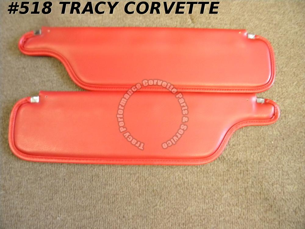 1965-1967 Corvette New Reproduction Red Coupe Sunvisors /Pair 65 66 67
