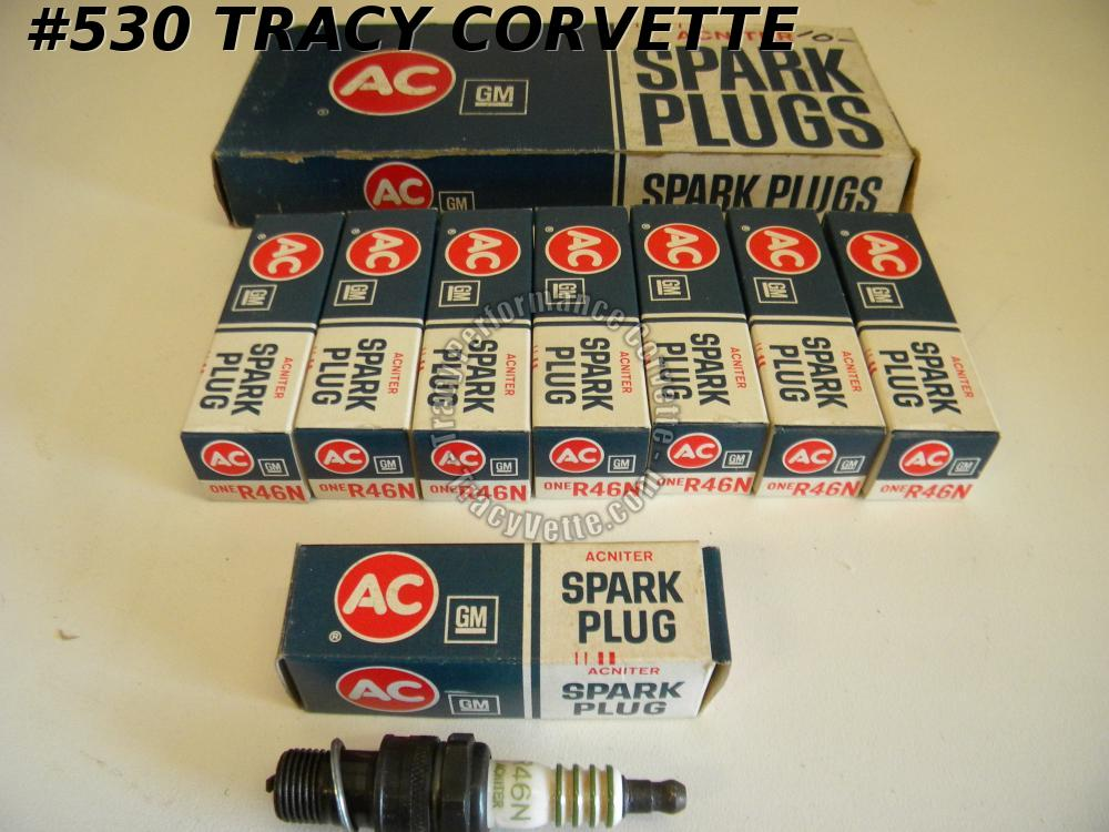 "1960-1980 GM NOS 5612826 Green Ring AC ""ACNITER"" R46N Spark Plug Set/8 Chevrolet"