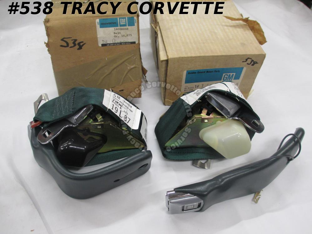 1979 Corvette NOS GM 14008868 14008867 Dark Green Seat Belts