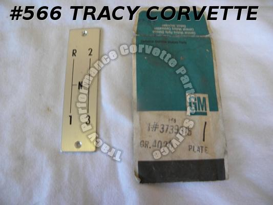 1956-62 Corvette NOS 3739315 3 Speed Shift Pattern Plate 56 57 58 59 60 61 62