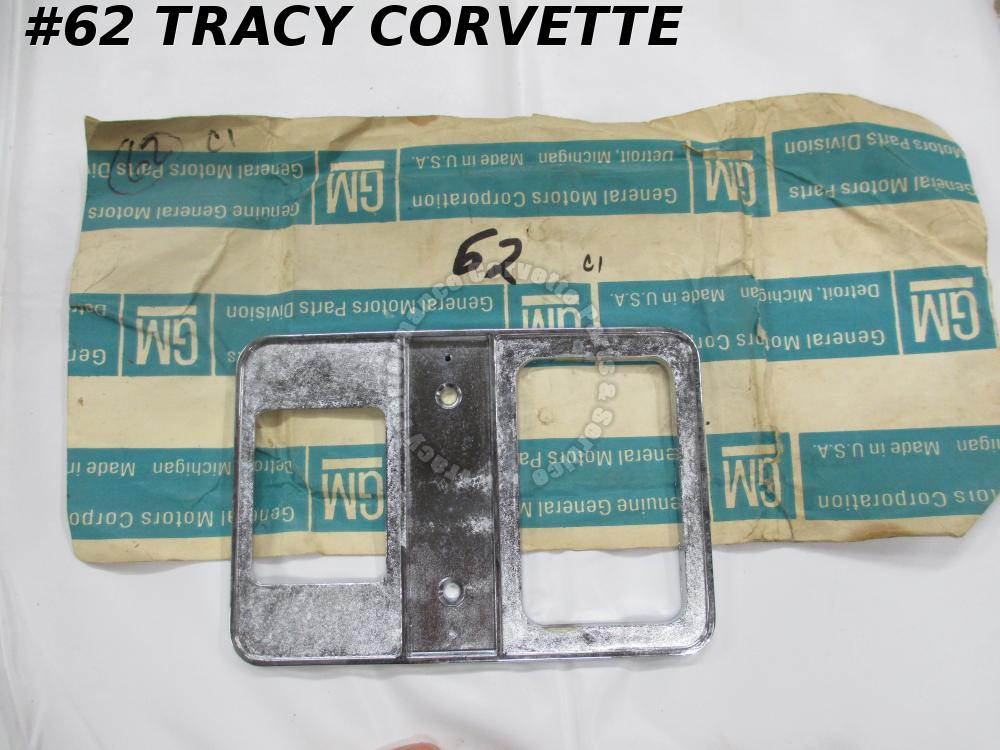 1956-62 Corvette NOS 3728940 Shifter Console Plate Ash Tray Holder Chrome Bezel