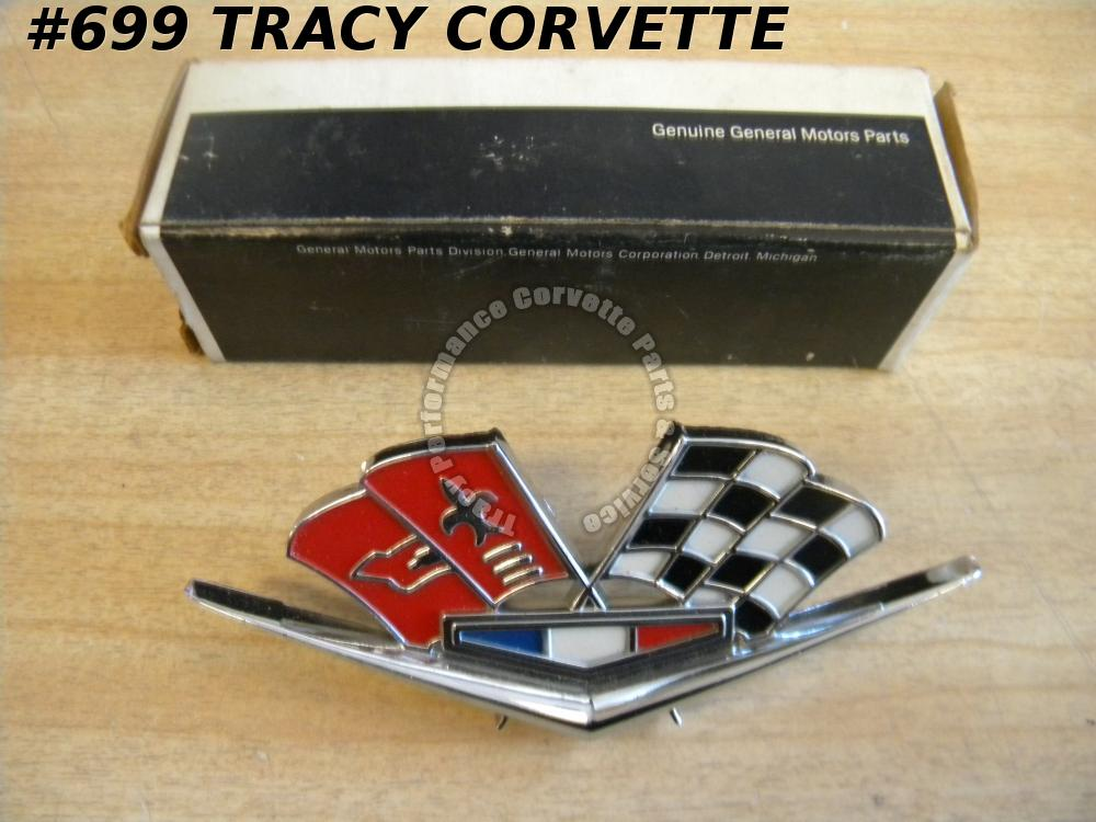 1963-1966 Corvette NOS 3872930 Side Fender Cross Flag Emblem 63 64 65 66