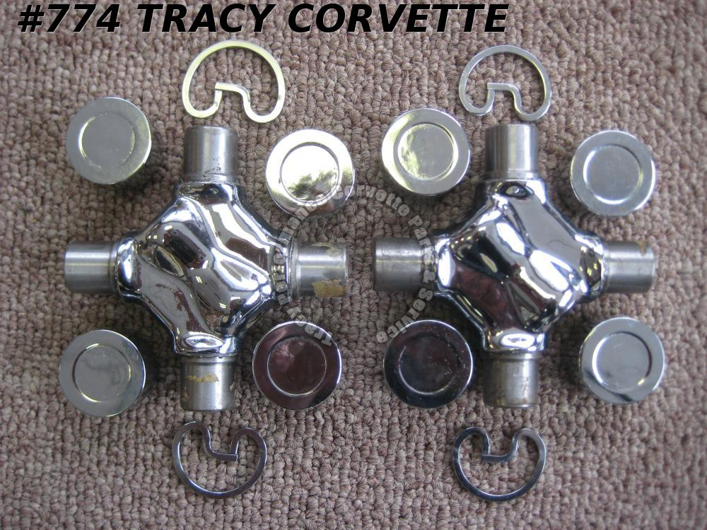 1968-76 Corvette Street RatRod T400 Chrome Driveshaft U Joints 68 69 70 71 72-76