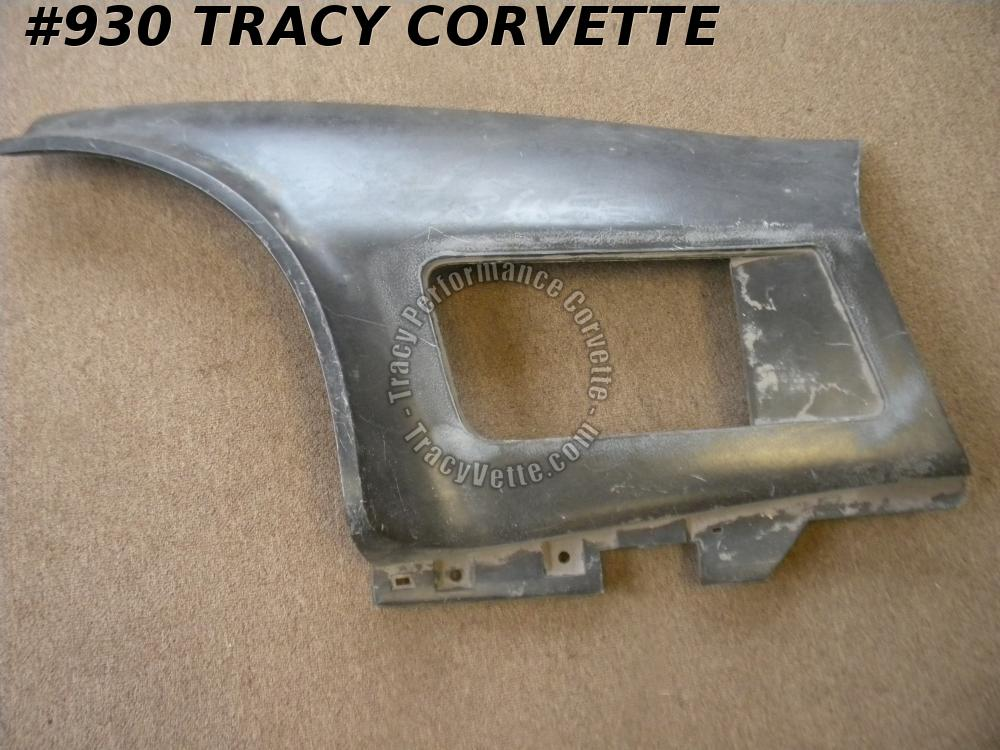 1970-1972 Corvette NOS 3977865 LH Black PM Side Fender Louver Panel Rear Section